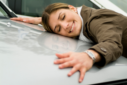 Woman Hugging Car